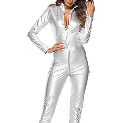 Shhyy Disfraz Catsuit para Mujer Jumpsuit Piel de Modelo Brillante Mono Patentar Cuero Apariencia mojada Traje Catwomen Partido Cosplay Carnavales Ideal para Amante Regalo,Plata,M