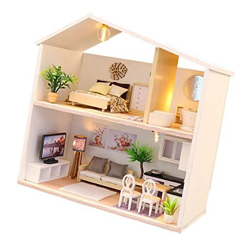 Süß Puppenstube Miniatur Haus mit Licht Puppenhaus Bausatz Holz Modell Set Kreativ Geburtstagsgeschenk für Kinder und Erwachsene - B