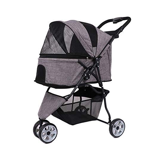 AlhJ huisdier-kinderwagen, opvouwbaar, middelgroot, kleine hond, transporttas voor reizen, kat, ademend, met wielen voor kleine dieren
