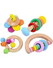 おもちゃ ラトル 天然木 4個セット ガラガラ 赤ちゃん おもちゃ おしゃぶり、赤ちゃんのための4PCS木製ガラガラおもちゃ、赤ちゃんガラガラハンドベル、幼児木製ハンドベルカラフル、赤ちゃんのための木製教育歯が生えるおもちゃ、赤ちゃん早期教育サウンドおもちゃ