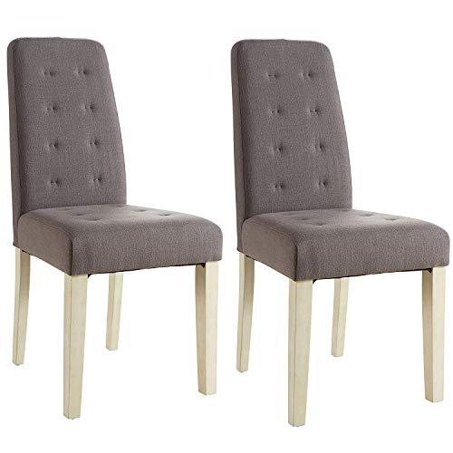 Abitti Pack 2 sillas para Comedor o salón tapizadas en Tela Marron y Estructura en Madera Maciza de