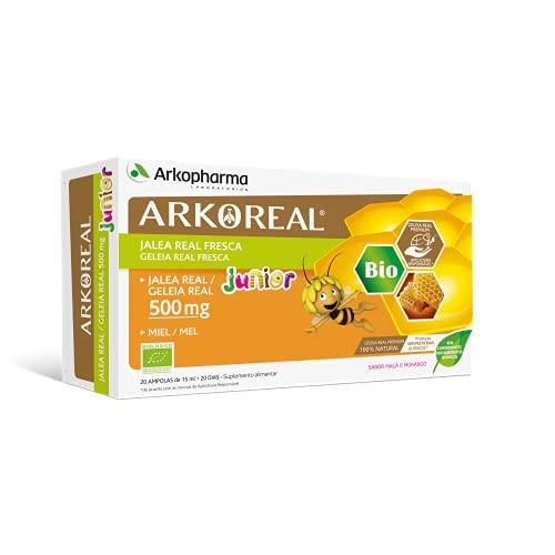 Arkoreal Jalea Real Junior BIO 20 Ampollas Pack x2  Jalea para niños  Tónico y Revitalizante  Jalea Real Premium 100% Natural  Complemento Alimenticio