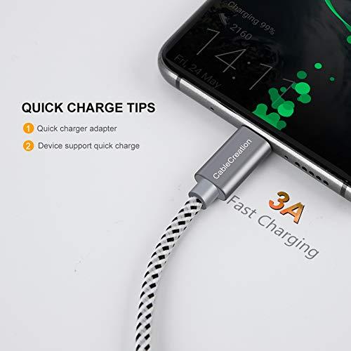 CableCreation 25cm Kurz USB C Kabel, Geflochtene USB-C Ladekabel Datenkabel, Type C Schnellladekabel für MacBook, Galaxy S8/S9/S10/S20, Huawei P20/P30, Moto Z usw 56K Ohm Widerstand