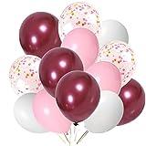 Puselo 65 Pièces Ballon Rose Bordeaux, Ballon Bordeaux, Ballon Rouge Bordeaux, Ballons Roses,Ballons Confettis Blanc et Rose ,pour Fournitures De Fête Mariage Anniversaire Baptême Baby Shower