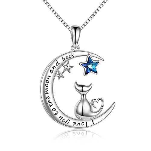 Collar con Luna Colgante de Gato para Mujer, Plata de Ley 925 con Azul Estrella Cristal Joyería Regalos Originales