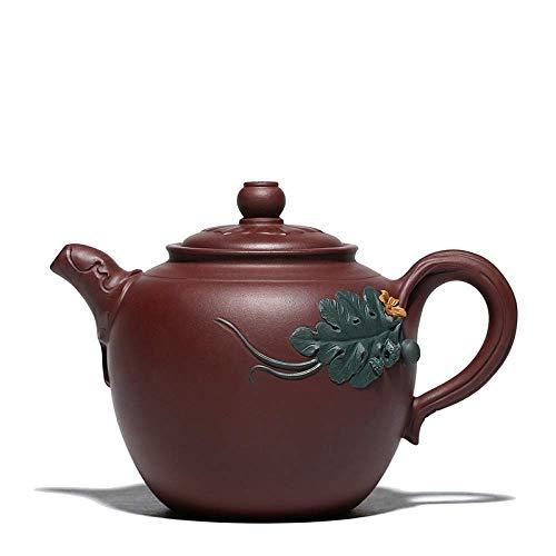 DX Zisha theepot, handgemaakte vintage retro unieke oosterse originele antieke ontwerp ruw erts paars klei keramische thee pot, 480ml meloen fruit bladeren en bloem snijwerk