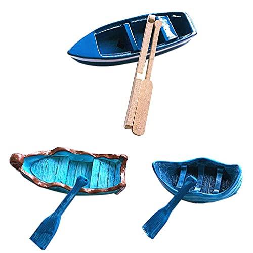 QULONG Garten Ornamente Outdoor 3 Sets Miniatur Ruderboot Figuren Mini Segelboot Modell Dekoration Miniatur Segelboot...
