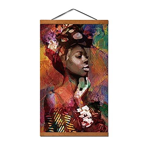 Abstracto África Chica Colorido Mujeres Retrato Carteles e Impresiones Arte de la pared Cuadros para Sala Decoración 50x70cm Con Marco