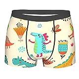 Calzoncillos para hombre con diseño de dinosaurio divertido con flores, calzoncillos suaves y pierna corta, Negro, L