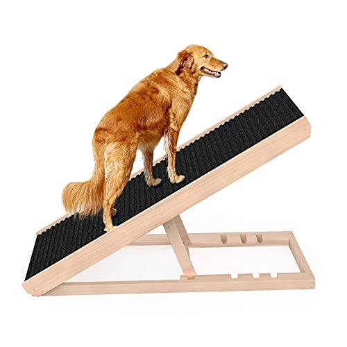 """SASRL Adjustable Pet Ramp for All Dogs and Cats - Folding Portable Dog Ramp for Couch or Bed with Non Slip Carpet Surface, 40""""Long and Height Adjustable from 9""""to 24"""" - Up to 200 Lbs"""