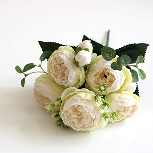 XY Artificial flowers 5-Head Small Peony Korean-Style Small Handle Bundle 5-Head Feili Persian Rose Artificial Flower Home Wedding Rose Bouquet Beautiful artificial flowers (Color : White and Green)
