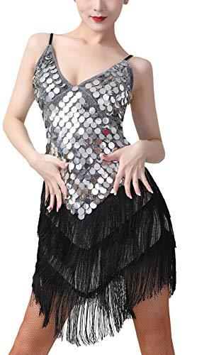 AIEOE Robe de Danse Tango Vintage Soirée Cocktail Années 1920 Déguisement en Dentelle Creuse à Col Bas pour Femmes -Noir Argent