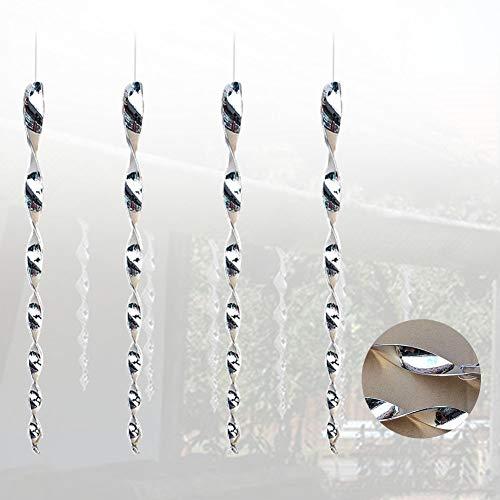 KTSM-Stop-T Bird expeller 4Pcs Bird Scare Rod Pigeons Garden Reflective Portable Hanging Safe Repellent Spiral Design Deterrent Decoration Outdoor Suitable for farm (Color : 4Pcs)