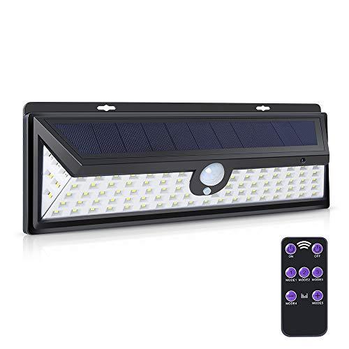 Solarleuchten, 3 optionale Modi 92 LED-Wandleuchte Solarleuchte für Außenbeleuchtung, wasserdichtes Nachtlicht mit Bewegungsmelder-Detektor für Garten, Treppenstufen, Zaun und Garten (Schwarz)
