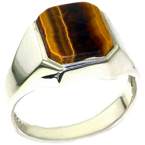 Gents Solid Sterling Silver Natural Tigers Eye Mens Signet Ring - Size Z+2