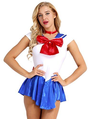 TiaoBug Sailor Moo Manga Crystal Cosplay Kostüm Sailor Venus Kostüm Schulmädchen-Matrose Uniform Anime Matrosen Kostüm Verkleidung Matrosenkleid Blau M