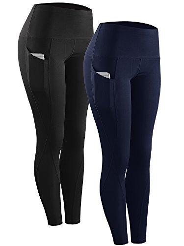 Neleus 2 Pack Tummy Control High Waist Running Workout Leggings,9017,Black,Navy Blue,US XL,EU 2XL