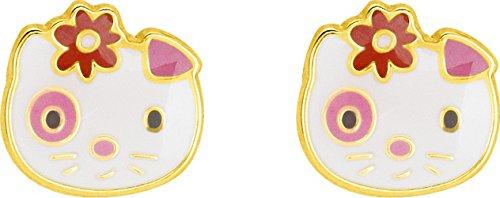 Robbez Masson 9K8677V - Orecchini da bambina in oro giallo 9 K, Hello Kitty