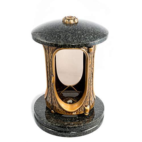 Afterglow Stilvolle Grablaterne Elégant Granit Impala dunkel Höhe 23 cm/Ø 15 cm Grableuchte Grablicht Grablampe Granitlampe Granitlaterne Bronze mit Sockel Grabschmuck