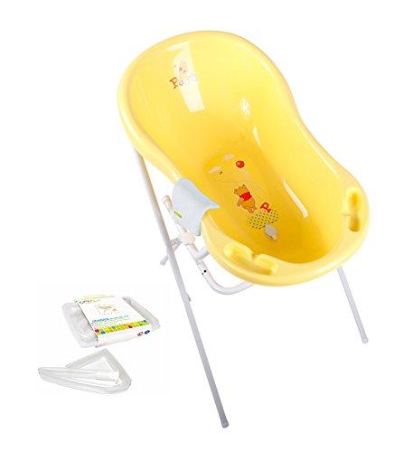 Disney Winnie l'Ourson Baignoire pour bébé 84 cm + support de baignoire + tuyau d'écoulement + gant de toilette
