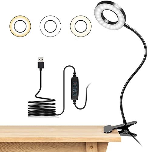 Lampara Lectura con Flexo Pinza 7W LED Luz Lectura escritorio Cuidado Ocular, 3 Modos de Luz y 10 Brillo Ajustable, 360° Flexible USB Regulable Lámpara para Libro