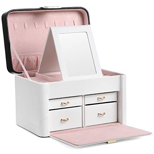 SONGMICS Caja de joyas, Organizador de joyas con cerradura, con Espejo giratorio, para Collares, Anillos, Aretes, Pendientes, Relojes, Buena idea de regalo JBC149WT