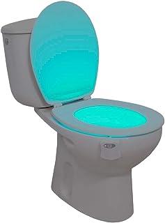 Ideal Products - luz para el inodoro adaptable a cualquier modelo de WC, activación con sensor de movimiento de 8 colores (se pueden elegir con un simple botón), decorativo,evitando el uso de luces por la noche y previene accidentes