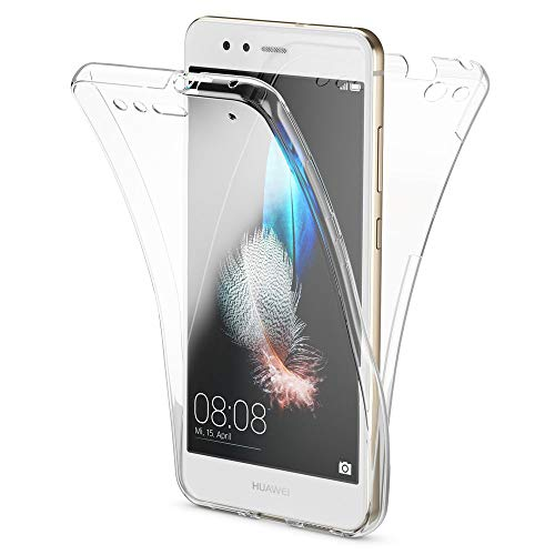 NALIA 360 Gradi Cover compatibile con Huawei P10 Lite, Totale Custodia Protezione Silicone Trasparente Sottile Full-Body Case, Gomma Morbido Ultra-Slim Protettiva Bumper Guscio, Colore:Trasparente