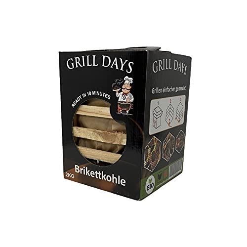 Cultimo Carbón vegetal ecológico Grilldays, 2 kg, en cesta de madera, listo en 10 minutos, carbón vegetal, barbacoa, carbón para barbacoa (2 kg)