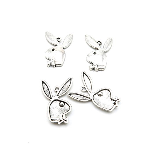10 x Antique Silver Tone Jewelry Making Charms Findings Handmade Necklace Bracelet Bulk Lots Supplier Supply Crafting L1OH0 Playboy Rabbit