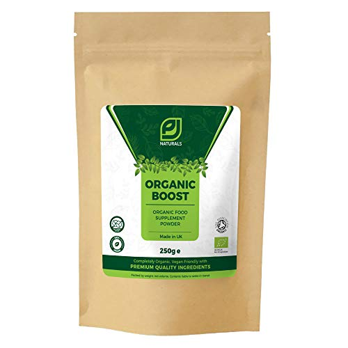 Organic Boost by PJ Naturals, Natural Energy Powder Drink Supplement and PRE WORKOUT, Sugar Free, Vegan, Premium Quality Ingredients for Focus, Performance, Tiredness and Fatigue, 250g