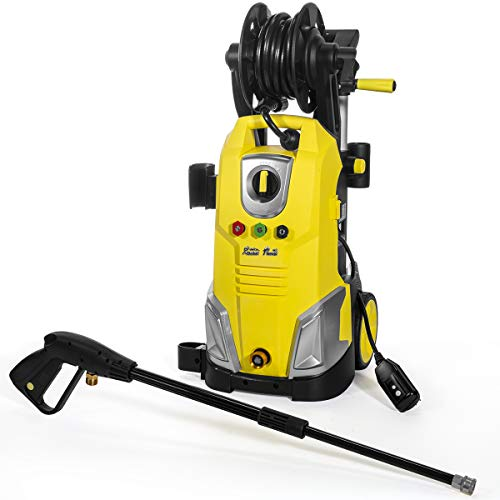 XtremepowerUS 61031 2000 PSI 1.7GPM Nozzle Adapter Electric Pressure Power Washer + Hose Reel Gun Wand Built-in Soap Disp, Yellow