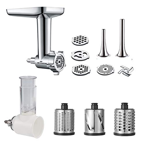 Gvode 2 in 1- Food Grinder & Slicer Shredder Attachment Pack for KitchenAid Stand mixer, with Sausage Tubes