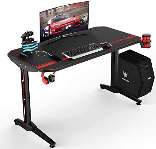 VIT Ergonomic Gaming Desk, T-Shaped Office PC Computer Desk with Full Desk Mouse Pad, Gamer Tables Pro with USB Gaming Handle Rack, Stand Cup Holder&Headphone Hook (44 inch, Classic Black)