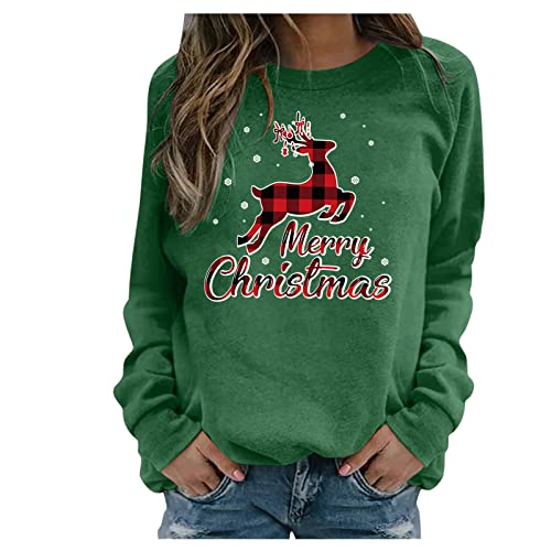 Shopler Suéter de Navidad para mujer, con estampado de renos, de gran tamaño, cuello redondo, manga larga, sudadera de otoño e invierno, verde, M