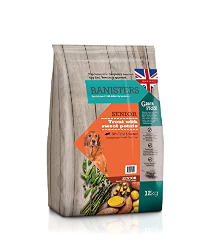 Banisters - Alimenti per cani senza cereali, completamente ipoallergenici, per cani anziani, trota (12 kg)