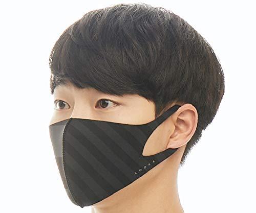 ルカ(LOOKA) デザインマスク BLACK×GRAY TRIPE Mサイズ
