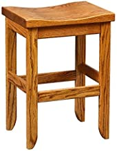 product image for Oak Saddle Top Stool - Bar Height - Amish Made in USA