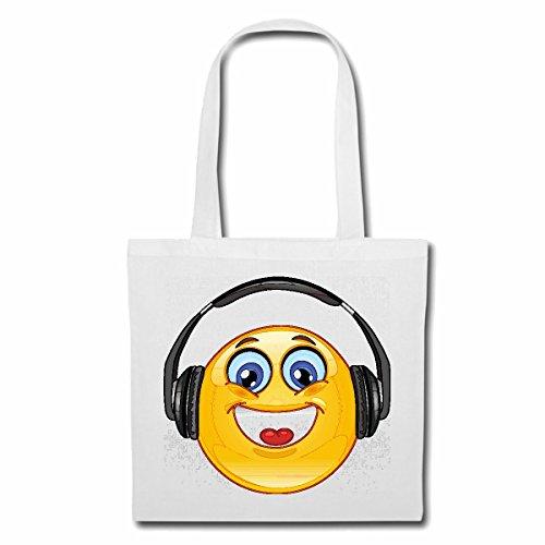 Tasche Umhängetasche Cooler Smiley MIT KOPFHÖRER Smileys Smilies Android iPhone Emoticons IOS GRINSE Gesicht Emoticon APP Einkaufstasche Schulbeutel Turnbeutel in Weiß