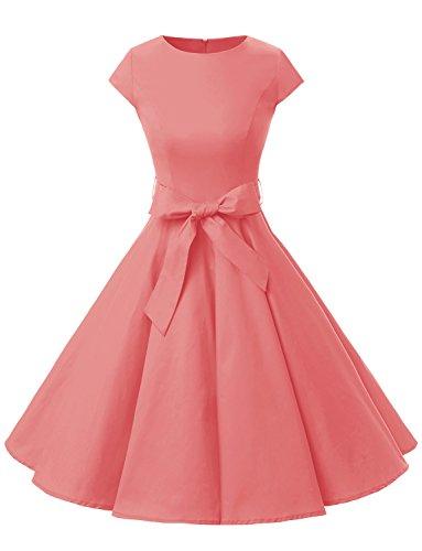 Dressystar Damen Vintage 50er Cap Sleeves Dot Einfarbig Rockabilly Swing Kleider Koralle XL