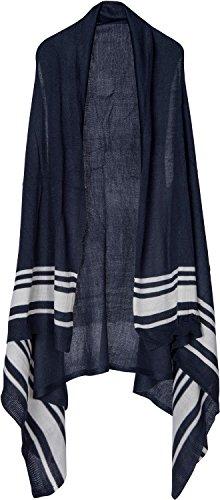 styleBREAKER ärmellose Weste mit Streifen, Poncho Cape, ohne Verschluss, Damen 08010046, Farbe:Dunkelblau/Weiß