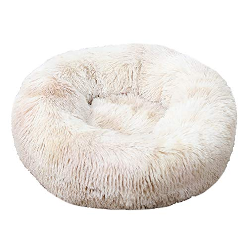 GUOCU Pet Dog Cat Calming Bed Round Plush Donut Nest Bed Soft Removable Cushion Soft Warm Cuddler Bed Bolster With Non Slip Base For Large Dog,White 4,4XL:120cm