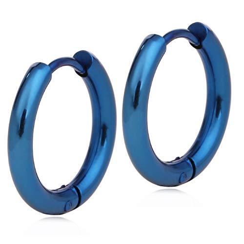 Adelina Style(アデリナスタイル) フープピアス ブルー 内径16mm 幅2.5mm 1ぺア 両耳 リングピアス レディース メンズ サージカルステンレス アレルギーフリー