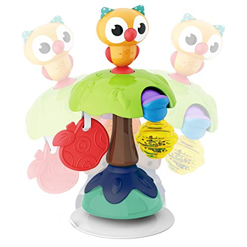 REMOKING Babyspielzeug, Rassel Baby Greifling Spielzeug, Eule Hochstuhl Spielzeug mit Saugnapf, ab 6 Monaten