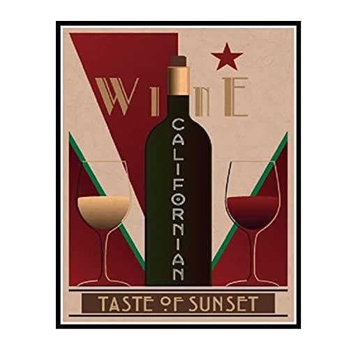 IUYTRF Cartel Vintage de vino californiano Bar Decoración de imagen artística de pared, carteles de vino Restaurante Cocina Hogar -50X70 cm Sin marco 1 Uds