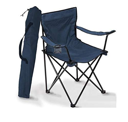 Mokshith Outdoor Camping Chair Padded Quad Rod Chair Collapsible Steel Frame Portable Wide Back Chair with Cup Holder Lightweight for Beach