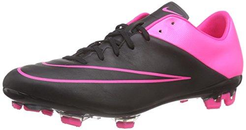 Nike Mens Mercurial Veloce II Leather Black/Black-Hypr Pink-Hypr Pink Shoes - 9