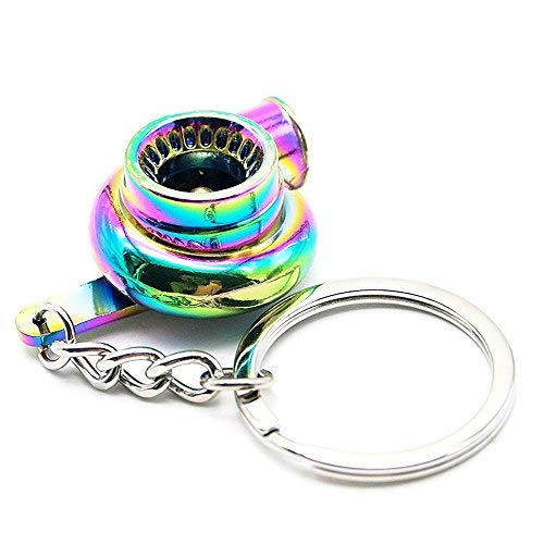 Nicedier-Tech Turbo key chain,Creative Auto Parts Models Spinning Turbo Turbocharger Key chain Ring-Rainbow
