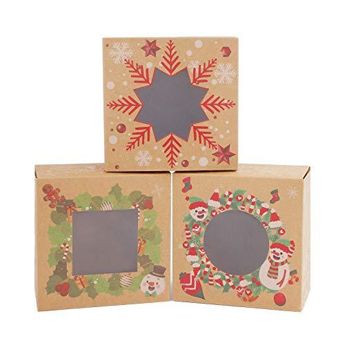 Gukasxi Scatole di Caramelle Regalo di Natale da 12 Confezioni, scatole di Cupcake per Biscotti con scatole di bomboniere per finestre Scatole per Confezioni Regalo per Dolci Natalizi Brown