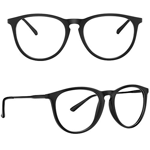 Blue Light Blocking Glasses, YAROCE Anti Eye Strain Computer Glasses, Vintage Retro Round UV Filter Blue Blocker Glasses for Women Men, Gaming Reading Glasses Non Prescription - Black